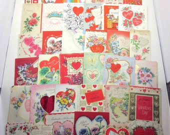 Vintage Assorted Used Valentine Greeting Cards for Crafting Set of 36 Lot A