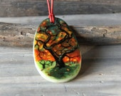Tree in  fall - fused glass pendant - Glass jewelry