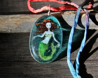 Mermaid in the water - fused glass pendant