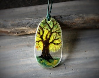 Tree - fused glass pendant - Glass jewelry