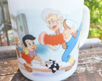 Vintage Disney Pinocchio Mug Vintage Disney Souvenir Cup Ceramic Mug Jiminy Cricket Geppetto Cleo and Figaro Disney Characters Mug