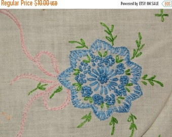 On Sale Linen Buffet Blue Flower Needlepoint Runner Sideboard Decoration Vanity Runner table Top Runner Sideboard Curtain Window Decor