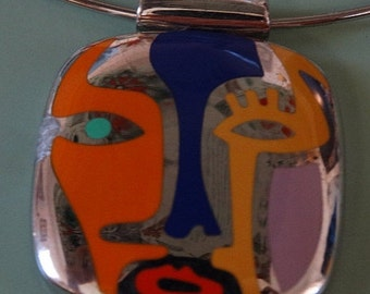 HUGE SALE Flli, Menegatti Sterling Silver 925 PICASSO Art Multi Color Enamel Pendant, Abstract Face Image, Modernist, Hinged Cable Twisted N
