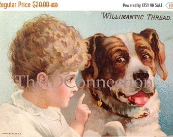 Victorian Trade Card, Saint Bernard & Little Blonde Girl, Best Friend, Dog, Secrets Advertising Card, Willimantic Thread