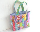 small womens purse. cute patchwork lunchbag tote. ladies fabric bag. tween teen girl gift. denim purse