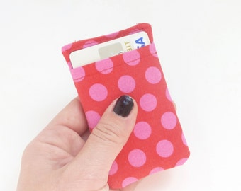 pink polka dot credit card sleeve. small fabric women card holder. cash and business card holder. small gift