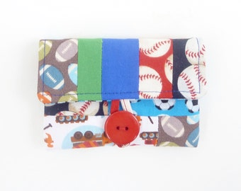 rosary pouch case. boy first communion gift. baseball soccer football trucks cute scrap patchwork pouch. catholic baptism confirmation