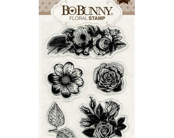 Bo Bunny Clear Acrylic Floral Stamps