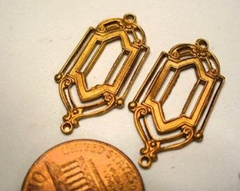Vintage Connectors, Brass Window Pane Design Secessionist or Art Deco Style Pendants or Drops, Jewelry Findings, 27x13mm, 3 pcs. (C1)