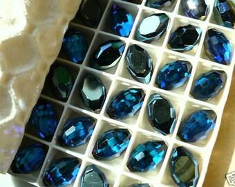 2 Swarovski Art. 4871 Bermuda Blue Corona 8x12mm