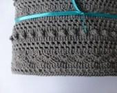 Lacy Grey Baby Blanket -  Hand Crocheted Boy Baby Blanket