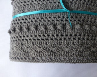 Lacy Grey Baby Blanket -  Hand Crocheted Boy Baby Blanket