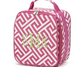 Personalized / Monogrammed Insulated Lunch Box - Greek Key Pattern