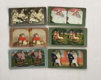 Stereoptic Photography Cards Stereoscope Viewer Easter Children