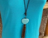 Long Heart Necklace - Leather Tassel Fringe - Turquoise Magnesite - Bronze -Cowgirl Jewelry - Brown Leather -  -Boho Necklace