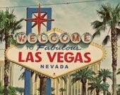 Welcome To Las Vegas Vintage Style Sign Las Vegas Strip 5 x 7 or 8 x 10 Print Nevada Decor Den Decor Fine Art Photo Sign Photo Palm Trees