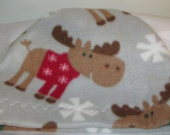 Kids Child Cancer, Chemo Hat, Moose Print  Anti Pill Fleece, Play, Sleep Cap