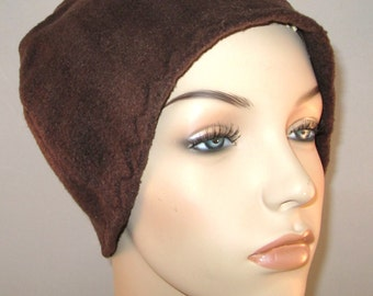 Brown  Anti Pill Fleece Hat, Winter Hat, Cancer, Chemo Hat, Alopecia