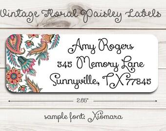 Vintage Floral Paisley Return Address Labels
