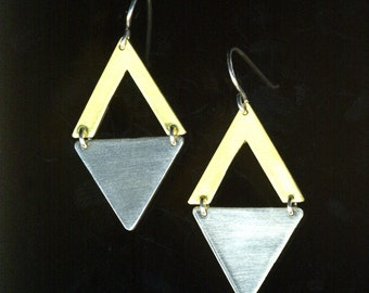 Double Triangle geometric Sterling Silver and Brass retro 50's atomic age dangle minimalist Earrings