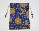 "Celestial Tarot Bag, Silk Lined Tarot Pouch, Sun Moon and Stars, Handmade 5"" x 7 1/4"""