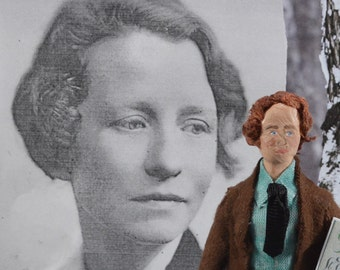 Edna St. Vincent Millay Poetry Author Miniature Doll Collectible Art