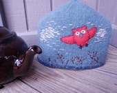 Hoot Owl Teapot Cozy, Cosie, Tea Pot Cozies, Knit, Felted, Lined, Embroidered