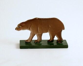 Antique Miniature Wood Bear Figurine, Erzgebirge, Flachfiguren Germany