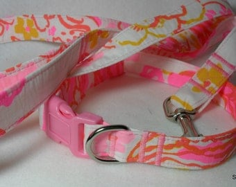 SALE - Handcrafted Lilly Pulitzer *NEW*  Happiness Is Fabric Dog Collar & Leash Set -SALE