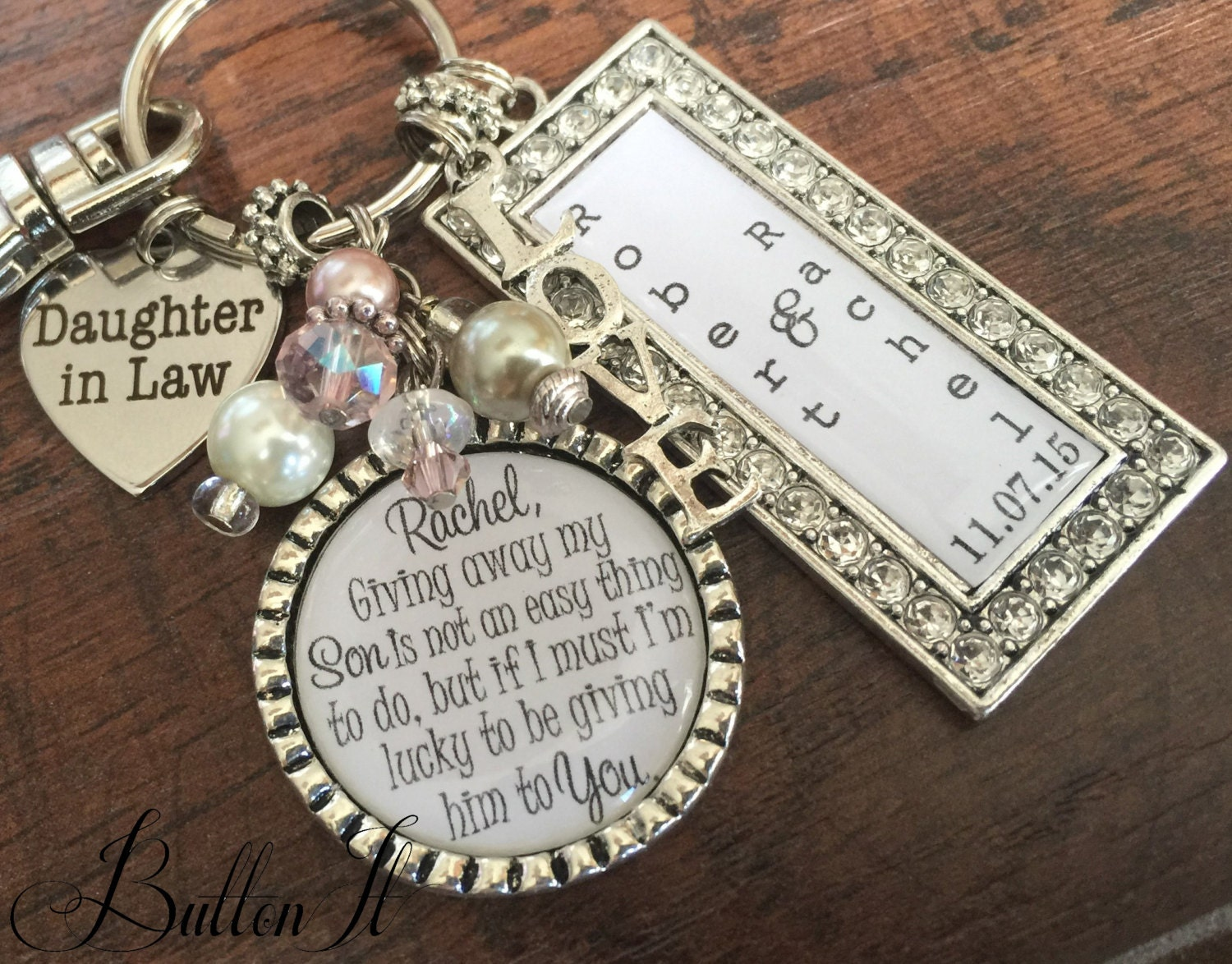 Daughter in law gift bride heart giving away my son is by buttonit