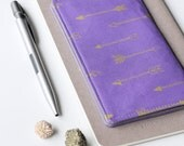 SALE - Purple Checkbook Cover, Gold Arrow Fabric Check Book Holder, Cute Gift Idea