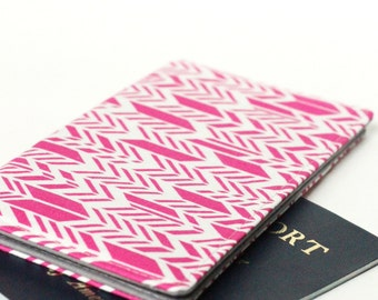 SALE - Pink Arrow Checkbook Cover, Fabric Passport Holder, Gift For Her