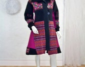 ON SALE Upcycled Sweater Coat/Tailored Nordic Pattern/Fuschia/Black/Jewel Tone/Size Small 8/10