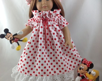 American Girl Doll Flannel Nightgown with Night Cap Minnie Mouse Polka Dot Disneyland Disney World 18 inch doll with  Ears and  FREE Hanger