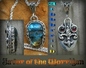 Favor Of the Morrigan Athbhreith labradorite skull  Fleur de lis and Red garnet 20 inch sterling silver chain