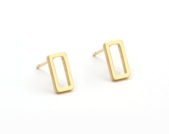 Stainless Steel Golden Geometric Earring Post Finding (EH011A)