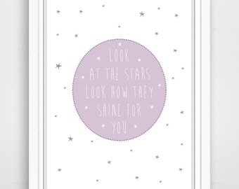 Look At The Stars, How They Shine For You,  Kids Nursery Art, Star Print, Baby Nursery Art, Coldplay