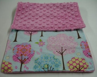 Pretty Trees Burp Cloth with Hot Pink Minky 10 x 19 READY TO SHIP