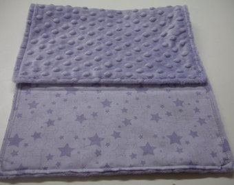 Lavender Stars Baby Burp Cloth with Minky 11 x 20 READY TO SHIP On Sale