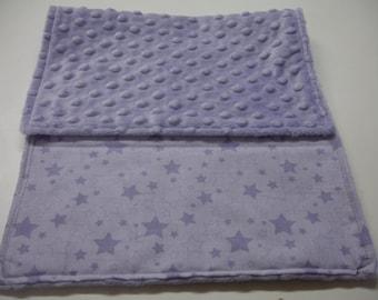 Lavender Stars Baby Burp Cloth with Minky 11 x 20 READY TO SHIP