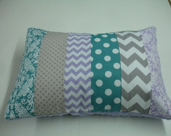 Lavender Teal and Gray Mixed Geometrics Strip-Style Patchwork Pillow Sham