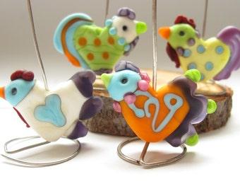 SRA HANDMADE ARTISAN lampwork glass beads 4 chickens bright colourful