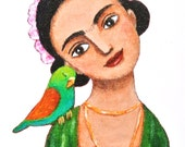 Frida Kahlo Print Frida Kahlo Illustration Print Mexican Art Home Wall Decor Frida Parrot Bird Green Colorful Wall Art Woman Portrait MiKa