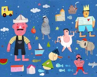 boys    Original Illustration , art for kids room, wall decor , art for boys room