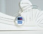 Star Wars R2D2 Adjustable Bangle Bracelet -  Alex & Ani Inspired Style