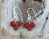 Reserved Listing  for Allie, Mexican Fire Opal Gemstone, Sterling Silver Handmade Earrings, Fire Opal Wire Wrapped Gemstone Earrings, Rust R