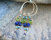 Multi Gemstone 14KT Gold Filled Hoop Earrings, Peridot, Lapis Lazuli, Sleeping Beauty Turquoise, Labradorite Handmade Wire Wrapped Earrings