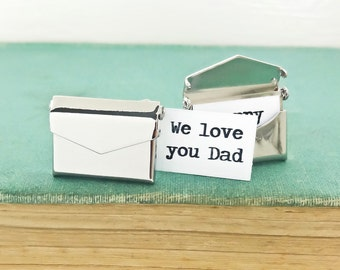 Personalized Envelope Cufflinks With Message Card. Personalized Fathers Day Gift, Groomsmen Gifts, Best Man or Wedding Party Gifts.
