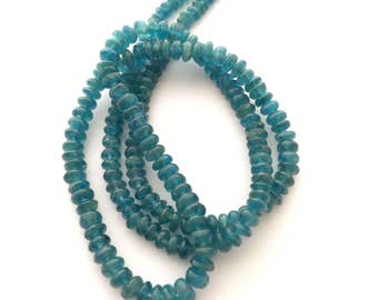 Aqua neon apatite smooth rondelles 2-4mm graduated 7.5""