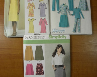 Simplicity 5681 2152 Butterick 4524 Lot of 3 Sewing Patterns Sizes 6-8-10-12-14  Design Your Own Tops dresses skirts and pants